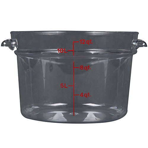 Cambro RFSCW12 12 qt Capacity, 14-7/8 Top Diameter x 8-3/8 Height, Camwear Clear Polycarbonate Round Food Storage Container (Cover Sold Separately)