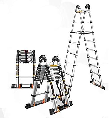 Escalera telescópica de Aluminio, 5.8m / 5m / 4.2m / 3.4m, Estructura en A / 330lbs / Escaleras portátiles Plegables multifunción, para el pabellón/Familia: Amazon.es: Hogar