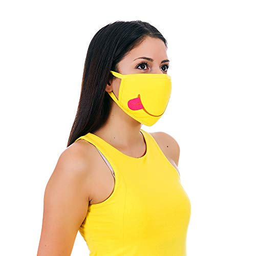 MojiGear Tongue Out Premium Cotton Cloth Face Mask - Reusable & Machine Washable with Pollution Filter - Unisex for Teens Men Women - Yellow