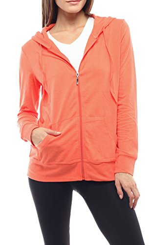 - EttelLut Women Lightweight Cotton Pullover Hoodie Hair Band Coral S