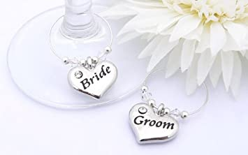 Amazon.com | Bride and Groom Wine Glass Charms - personalized ...