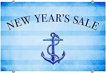 CGSignLab New Years Sale 36x24 Nautical Stripes Premium Acrylic Sign