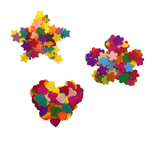 Hyamass Approx 300pcs Multi Color Mini Felt Flower Heart Star Embellishments DIY Craft Decoration (Shape Heart Felt)
