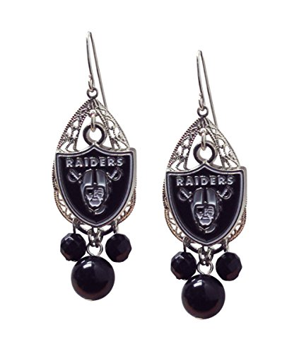 NFL Oakland Raiders Teardrop Logo Dangler Earrings