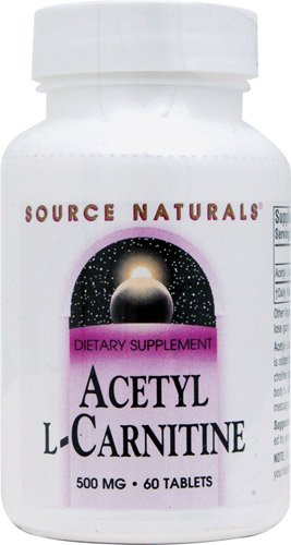 Source Naturals Acetyl L-Carnitine -- 500 mg - 60 Tablets - 3PC by Source Naturals