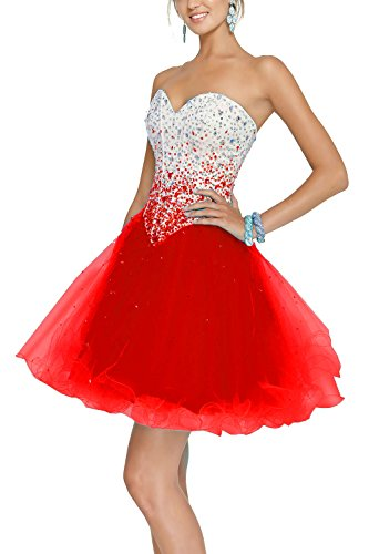 Zhongde Sparkly Sweetheart Corset Short Tulle Prom Cocktail Dress Evening Party Ball Gown For Girls Red Size 12 (Prom Corset Dress)