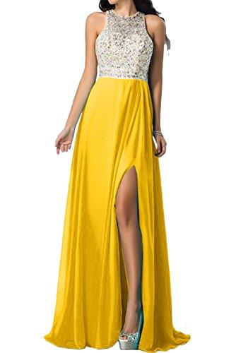 Ballkleid Rueckenfrei Damen Steine Chiffon Ivydressing Abendkleider Golden Promkleid Lang Schlitz qHgwnO7