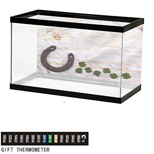 bybyhome Fish Tank Backdrop Horseshoe,Four Leaf Clovers Wood,Aquarium Background,24