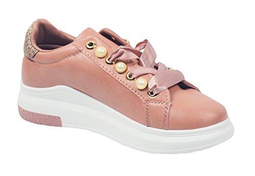 Gnd Kvinner Mote Perle Bånd Opp Sneaker # 7656 Rødme