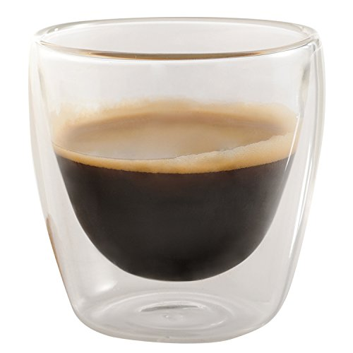 Set of 6 Double Walled Espresso Cups Glass, 3.4 oz - Jecobi