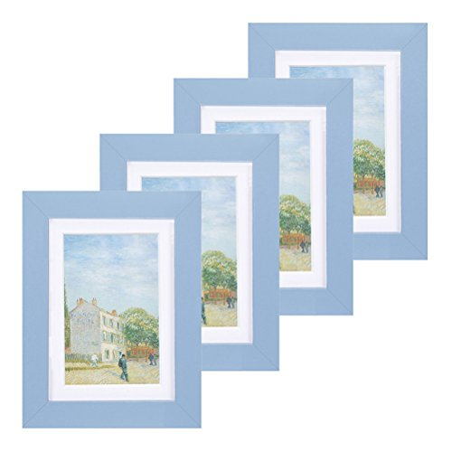 - Muzilife 5x7 Wood Picture Frame - Flat Profile - Set of 4 - for Picture 4x6 with Mat or 5x7 without Mat (blue-Glass)