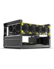 Veddha Mining Rig Frame, 6 GPU Aluminum Stackable Open Air Mining Case Computer Frame Miner Rig Case (T2 T3) (with Fans)