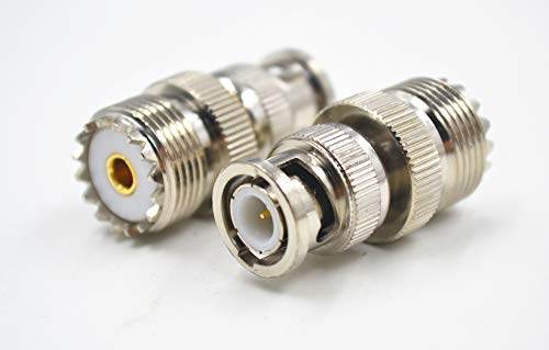 - 2PACK High Value BNC M-Male-Plug to UHF SO239 SO-239 F-Female-Jack RF coaxial coax Adapter