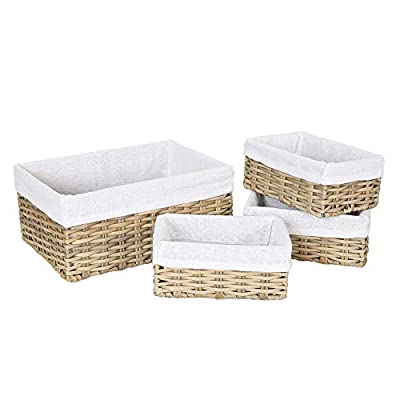HOSROOME Handmade Wicker Storage Baskets Set Woven Decorative Organizing Nesting Baskets for Bedroom Bathroom(Set of 4,Beige) - 1.Environmental protection shelf baskets:This woven basket is made by plastic imitation rattan weave.No paint, 0 formaldehyde.This material feels smooth and comfortable.It will not produce any toxic and harmful gases after high temperature combustion, it can be recycled 100%, and it can be biodegraded. 2.Sturdy storage containers:This Storage Basket is suitable for any environment.Because of its strong material, anti-oxidation, waterproof and insect proof.So it can be used easily for a long time. 3. Multiple-use Home Storage Bins:Great for cosmetics, books ,toys, coins ,album, underwear, baby clothes and other small sundries. utility and suitable for your bedrooms,bathrooms, living room, closets, shelves or anywhere in the house. - living-room-decor, living-room, baskets-storage - 41 GCxM3aiL. SS400  -