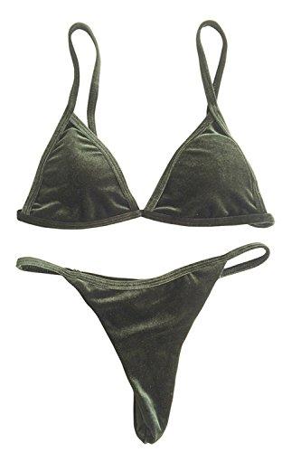 Babyonlinedress Bikini de mujer brasileño push up con tanga material de terciopelo 2017 Verde
