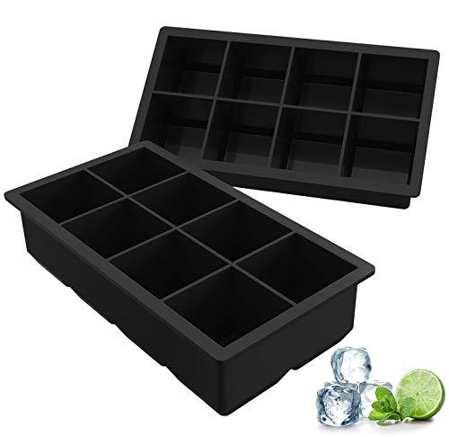 Ozera 2 Pack Silicone Ice Cube Trays, Large Ice Cube Molds 8 Cavity Ice Molds (Mold Silicone Chocolate Square)