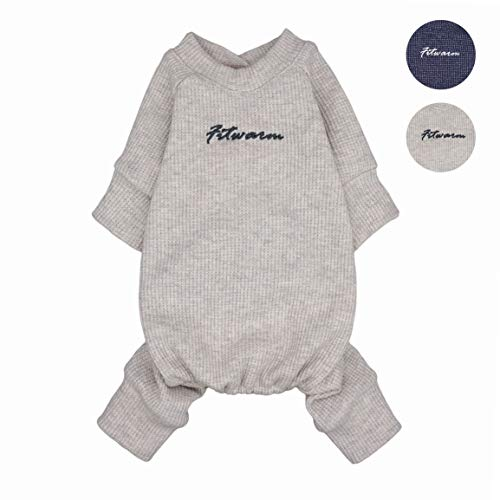 Fitwarm Basic 100% Cotton Lightweight Waffle Knit V-Neck Pet Clothes Dog Jumpsuits Pajamas Onesies Cat Outfits Cream White XL