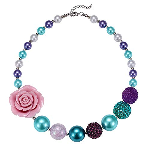 Chinaboy Chunky Bubblegum Rainbow Necklace Pink Gold Fashion Acrylic Beads Jewelry and Bracelet Set with Birthday Gift for Baby Girls Little Kids (Blue)