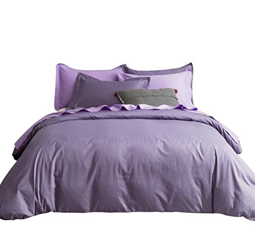 SUSYBAO 3 Pieces Duvet Cover Set 100% Natural Cotton King Size Solid Lilac Purple Bedding Set with Zipper Ties 1 Duvet Cover 2 Pillow Shams Luxury Quality Ultra Soft Breathable Comfortable Durable (Purple King Cover Duvet)