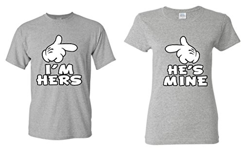 Shop4Ever Cartoon Hands I'm Hers - He's Mine Couples Matching T-Shirts - Men Medium S. Grey//Women Small S. Grey