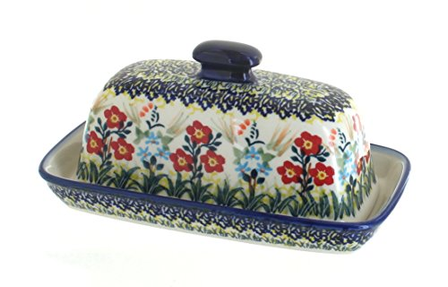 Blue Rose Polish Pottery Garden Field Butter Dish by Manufaktura (Image #1)