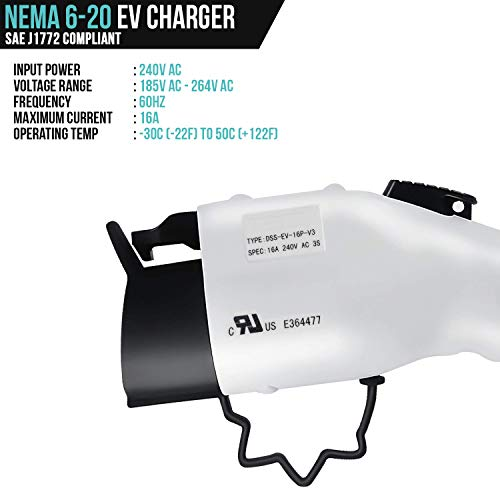 LECTRON 240V 16 Amp Level 2 EV Charger with 21ft (6.4m) Extension Cord J1772 Cable and NEMA 6-20 Plug by LECTRON (Image #4)