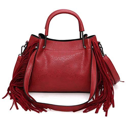 Bolsa Borlas Las Hijo Rojo Tamaño Hombro Bolso Moda Rojo Mensajero Negro color De Del Mujeres qIdzwdr