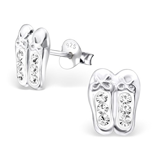 - 925 Sterling Silver Hypoallergenic Crystal Ballet Slippers Stud Earrings for Women or Girls 25105