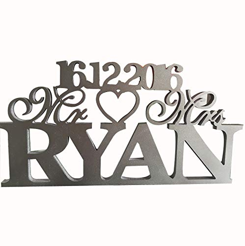 Love Decor Studio _ 1968 Silver Mr & Mrs with Last Name- Mr and Mrs Last Name Table Sign- Personalized Wedding Sign Mr and Mrs (18cm50cm1.5cm)