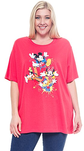 Disney-Plus-Size-T-shirt-Mickey-Minnie-Mouse-Donald-Duck-Goofy-Print-Coral