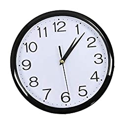 WEIYYY Large Vintage Round Modern Home Bedroom Retro Time Kitchen Wall Clock Quartz Black 2626cm