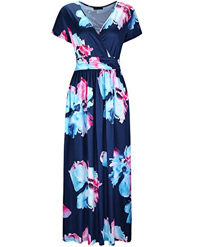 OUGES Women's V-Neck Pattern Pocket Maxi Long Dress(Floral-15,M)