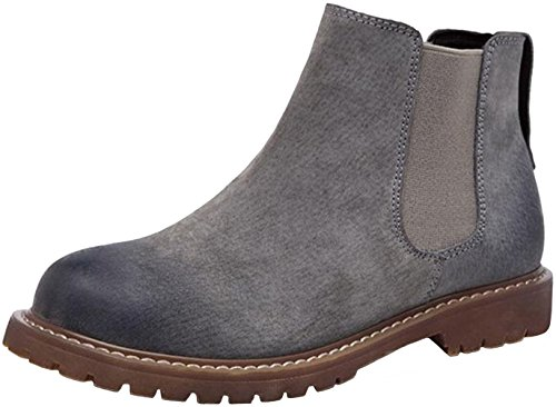 PPXID Womens British Retro Leather Ankle Chelsea Boots Snow Boots Gray 8b49v4ZR