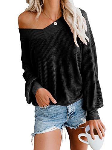 Womens Pullover Thermal Waffle Knit Tops Drop Shoulder Long Billowed Sleeves Loose Shirts Black