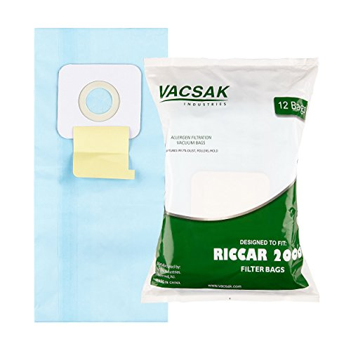 Riccar 2000, 4000 and Vibrance Series. Simplicity 5000, 6000 and Symmetry Type A Vacuum Bags - 12 Pack ()