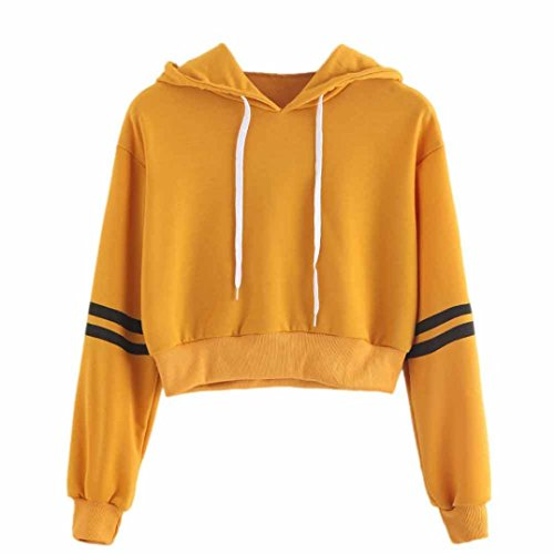 Big Promotion! Women Shirts WEUIE Womens Varsity-Striped Drawstring Crop Hoodie Sweatshirt Jumper Crop Pullover Top (Size L/ US 8, Yellow) (Sweatshirt Drawstring Sherpa)