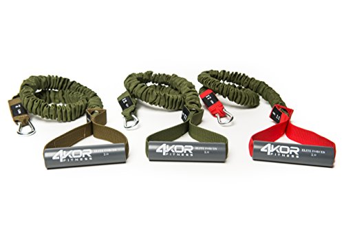 Resistance Cord Set by 4KOR Fitness, Strength and Performance System (3 Levels w/Door Strap) by 4KOR Fitness (Image #2)