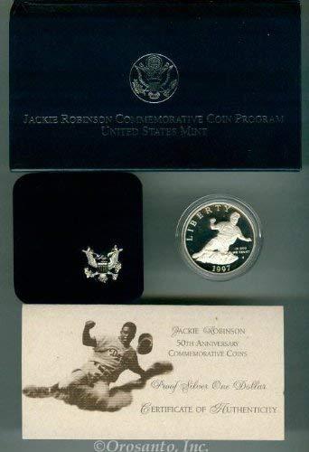 1997 S Jackie Robinson Commemorative Brilliant Uncirculated Silver Dollar BU OGP Box w/COA US Mint