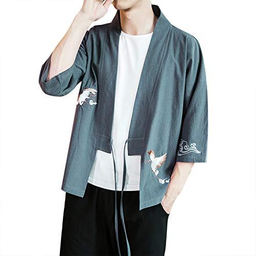 NIUQI Fashion Mens Cardigan National Print Loose Jacket Yukata Coat Baggy Tops Summer