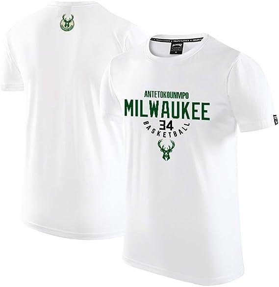 POBD Giannis Antetokounmpo 34 Milwaukee Bucks - Camiseta de baloncesto para hombre y niño, de algodón para ropa deportiva de hombre S-3XL: Amazon.es: Ropa y accesorios