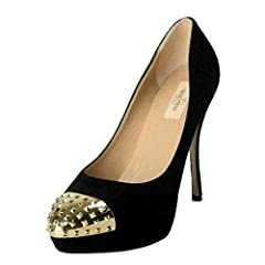 Valentino Women's Rockstud Suede High Heel Platform Shoes