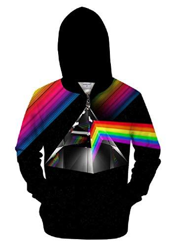 GGmar Rainbow Color Line 3D Men Zipper Pullover Men Clothing Tracksuit Sweatshirts