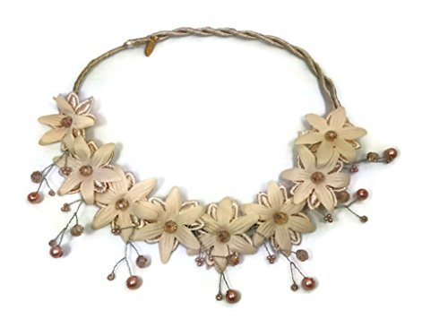 MeeTHan Vintage Lace Pearl Flower Headband Necklace:VT2 - Head Chart Shape