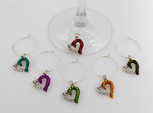 ass Charms - 6 Piece Cocktail Drink Charm Set in Black Velour Gift Pouch (Heart Wine Charms Wedding Favors)