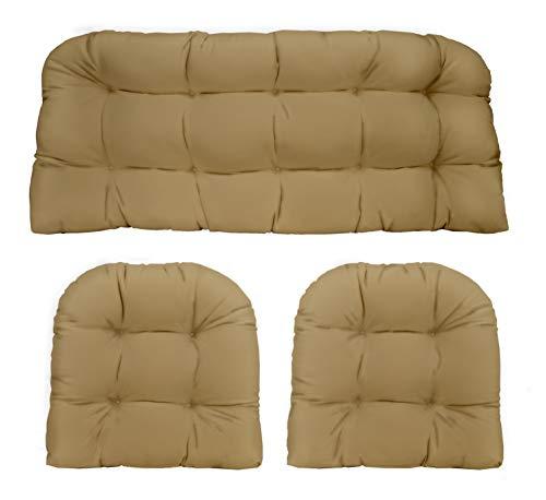 Tan Fabric Loveseat - 3 Piece Wicker Cushion Set - Indoor / Outdoor Tan Solid Fabric Cushion for Wicker Loveseat Settee & 2 Matching Chair Cushions