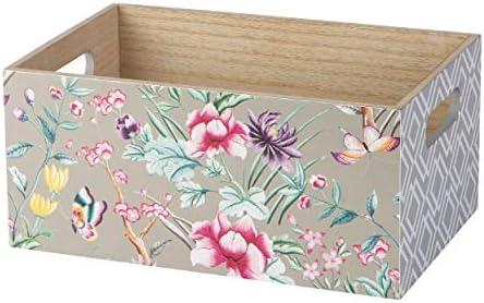 KASA Caja Decorativa de Madera con un Patrón de Flores en Gris ...