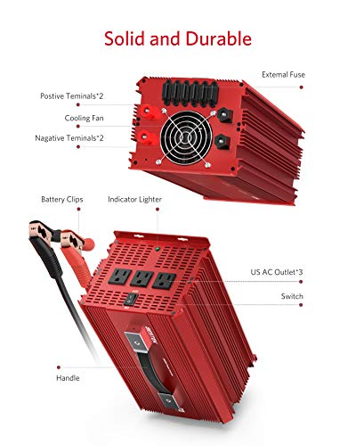 BESTEK 2000W Power Inverter 3 AC Outlets DC 12V to 110V AC Car Inverter Outdoor Emergency Power Supply ETL Listed by BESTEK (Image #2)