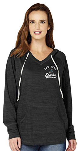 Nhl Womens Long Sleeve - NHL San Jose Sharks Women's Multi Count Triblend Long Sleeve Hoodie with Pocket, Large, Black