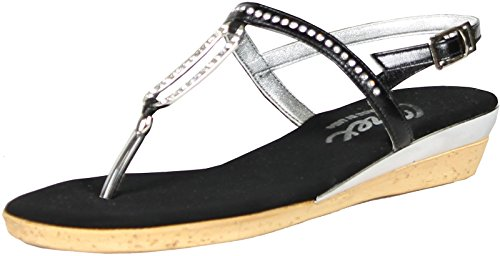 Onex Women's Cabo Thong Sandal,Black/Silver,10 M US by Onex