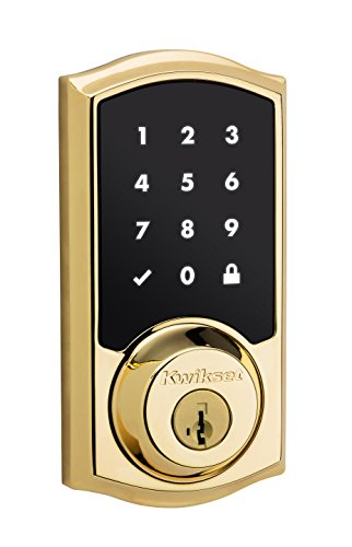 Polished Auto - Kwikset 99150-001 SmartCode 915 Touchscreen Electronic UL Deadbolt with Smart Key, Polished Brass